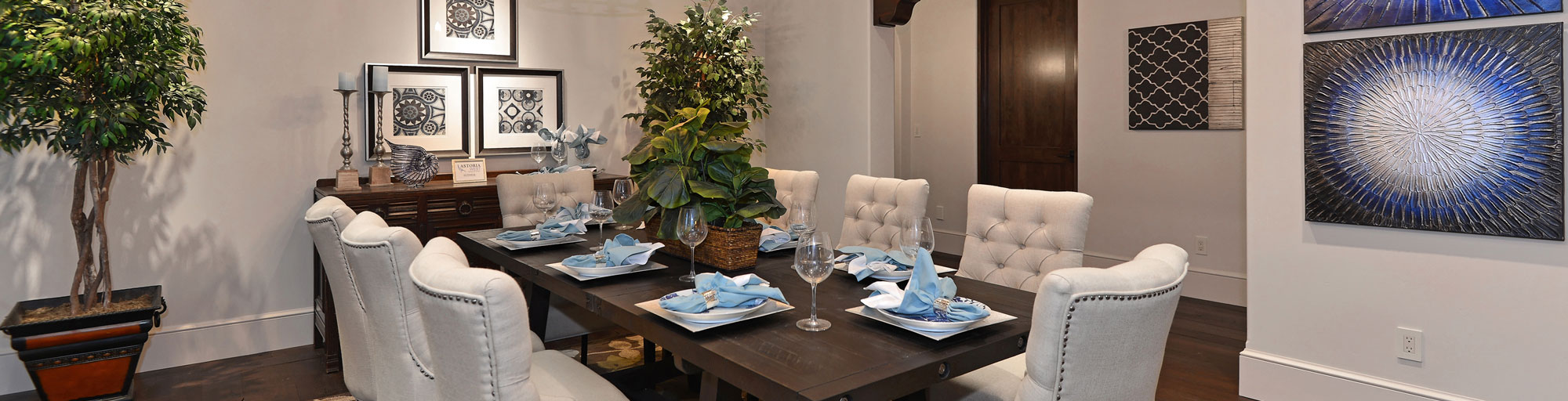 White and blue toned staging of dining room