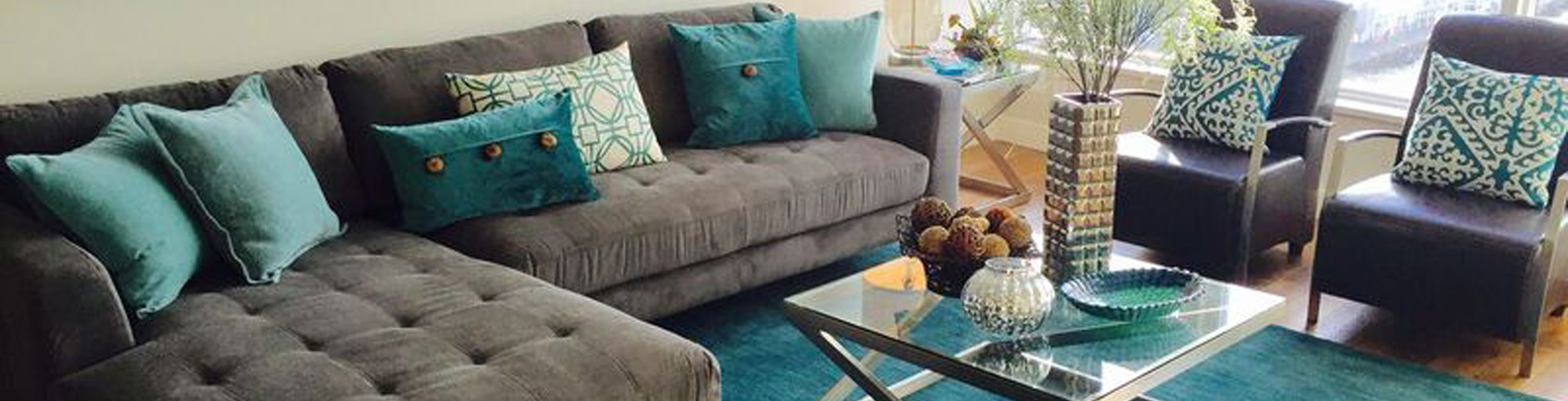 Grey and turquoise living room set