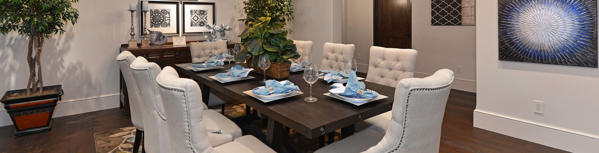 Dining room staging with cream and blue accents